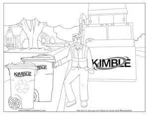 Kimble Kids Recycling Coloring Page Preview