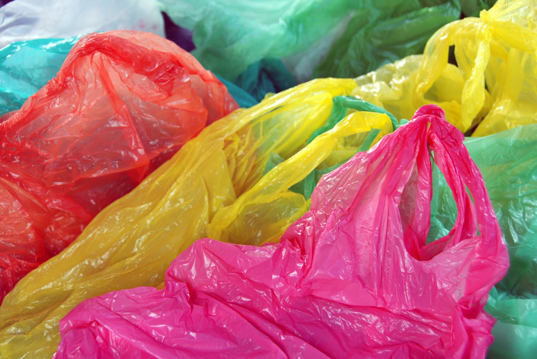 colorful plastic shopping bags